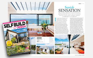 selfbuild & design front cover overlaid on top of the first two pages of the feature article on gwel-an-treth headline seaside sensation