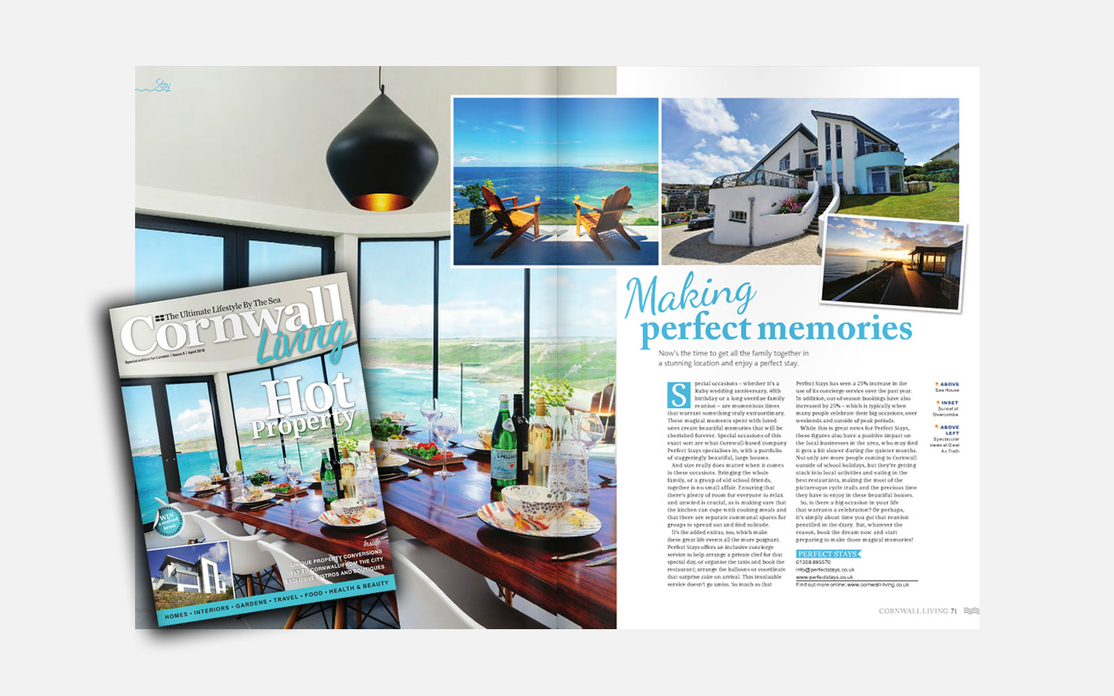 cornwall living magazine front cover overlaid on top of perfect stays feature article in cornwall living magazine headline making perfect memories