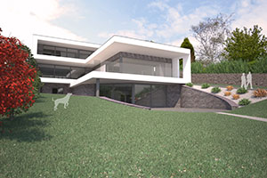 render image of contemporary cantilever replacement dwelling