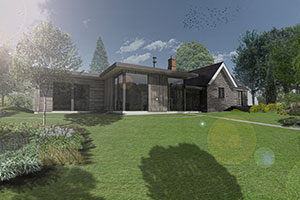 render of existing lodge dwelling with contemporary extension designed to preserve its character