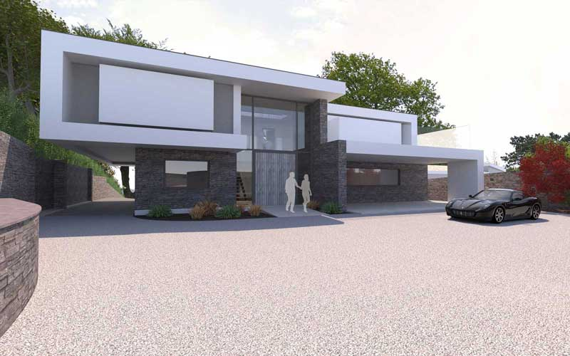 night render image of cantilever design replacement dwelling located in restronguet point,feock